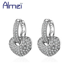 Buy Almei 5%Off 2017 Indian Drop Earrings Women Silver Color Heart Big Earring Crystal Stones Jewelry Ohrring Brincos EH195 for $4.74 in AliExpress store