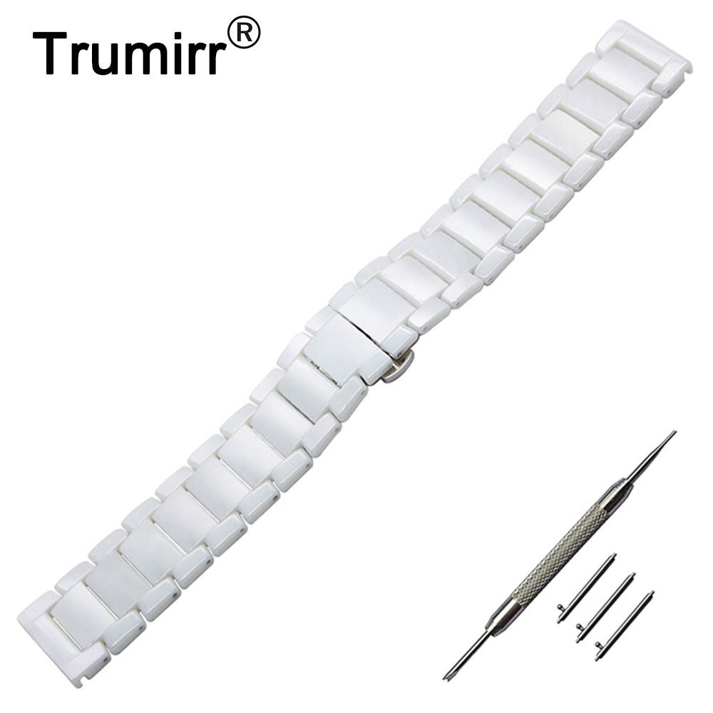 22mm Quick Release Ceramic Watch Band + Tool for Armani Fossil Diesel Timex Butterfly Buckle Strap Wrist Bracelet Black White<br>