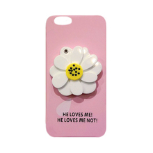 2016 3D Korea fashion summer cool sexy chrysanthemum flower with glass cosmetic mirror pc case cover For iphone6 6s/6plus 6splus
