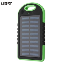 LEORY 5000mAh Solar Panel Power Bank  Dual USB External Battery Pack Power Charger With Charging Cable 7 Colors For Phone Tablet