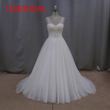 2017 Fashion Stunning Cap Sleeves New Design Bridal Gown Pearls A Line V-Neck Vintage Wedding Dresses Vestidos De Noiva Tulle(China)