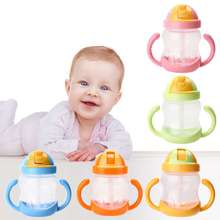 1Pc New Double Handle Baby Trainer Cup Straw Type Cup Baby Kids Children Feeding Drinking Water Cup 280ml(China)