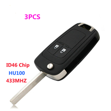 3pcs/lot High Quality 2 Buttons Remote Key Keyless Entry 433 MHz ID46 Chip for Chevrolet Aveo with Leaf HU100(China)