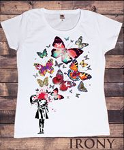 Lady Casual Short Sleeve Tees Banksy Headshot Large Butterfly Print Womens %100 Cotton New Tshirt Top S M L