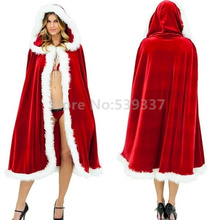 New 2016 Women Velvet Christmas Hooded Long Cape Cloak Party Wicca Robe 1.5M Red Xmas