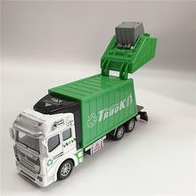 2 Style Cars Truck Popular Car Model Toys For Children Green Orange Cheap Toy Garbage Truck Model Pull Back Car Diecast Truck
