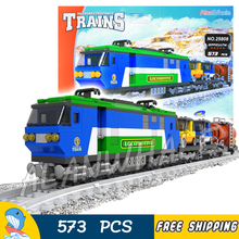 573pcs Train Creator Classical Cargo Trains 25808 Blue Locomotive Model Building Blocks Bricks Railway Toys Compatible With lego