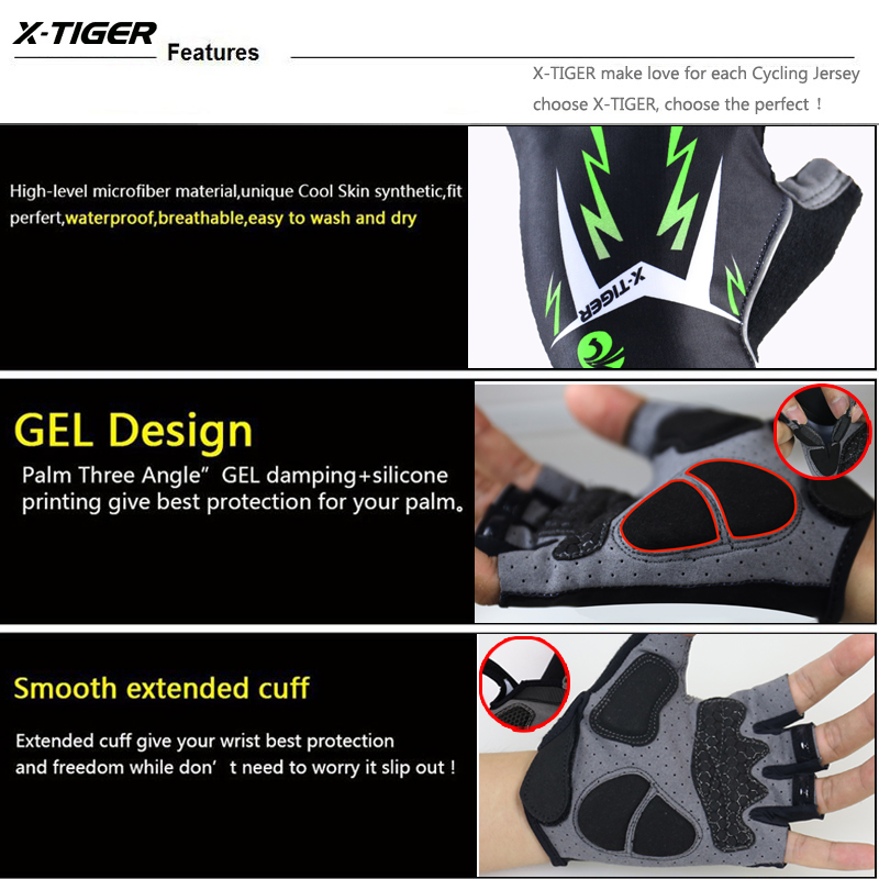 X-Tiger 3D GEL Pad Bright Green Sport Gloves With Reflective Half Finger MTB Bike Gloves Cycling Gloves Mountain Bicycle Gloves 8