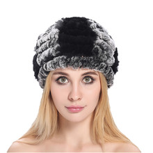 ZY84011 Autumn Winter Ladies' Genuine Natural Rex Rabbit Fur Casquette Hats Fox Fur Ball Women Fur Fashion Headgear Gorro
