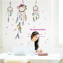 Colorful INDIAN Campanula feather Wall Sticker Dreamcatcher Wall Decal Art Feather Home Decor Bedroom Living Room Decor Poster(China)