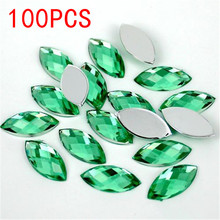 Hot Sale 100Pieces Flat Back Marquise Earth Facets light green Acrylic Horse eye Shape Rhinestone Nail art diamond decoration(China)