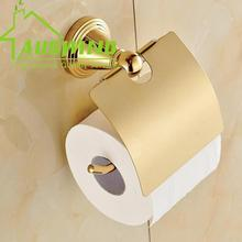 Antique Gold Polished Toilet Paper Holder Round Bottom Mounting Brass Tissue Box Roll Holder Bathroom Accessories Products