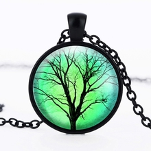 2016 Pendant necklace wholesale glass dome tree of life jewelry tree plant Photo neckles glass cabochon pendant dome