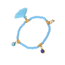 1pc Star/Hamsa Hand/Evil Eye Charms Bracelets Tassel Pendant Bracelet Colorful Crystal Beads Bracelet For Women Jewelry(China)