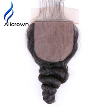 Alicrown Hair Loose Wave Silk Base Closure With Baby Hair Brazilian Remy Hair Closure Natural Color  Free Shipping