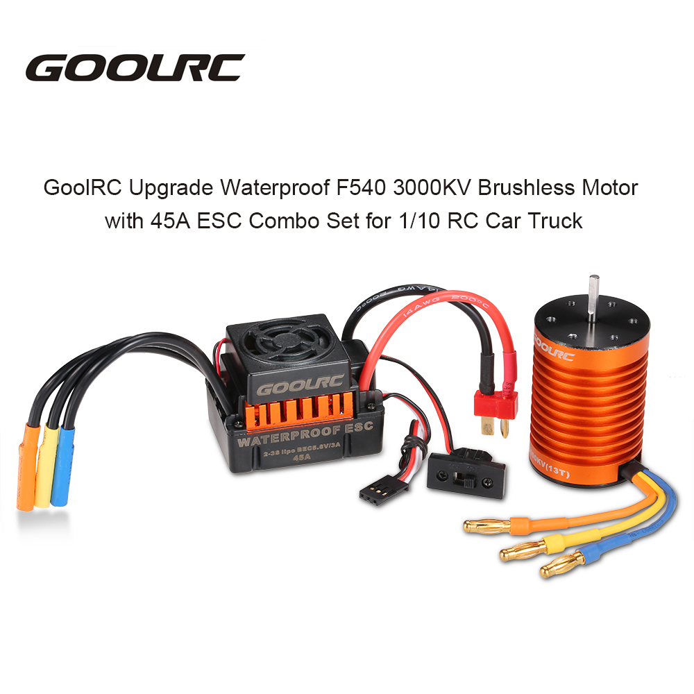 GoolRC Waterproof New Brushless Motor F540 3000KV with 45A ESC Combo Set for 1/10 RC Car Truck Electronic Part Metal Motors<br>