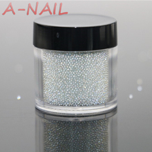 Nail Studs Powder 0.6-0.8mm 0.8-1mm 15g/jar Clear AB Caviar Mini Glitter Beads Manicures Decoration Nail Art Rhinestone Glitter(China)
