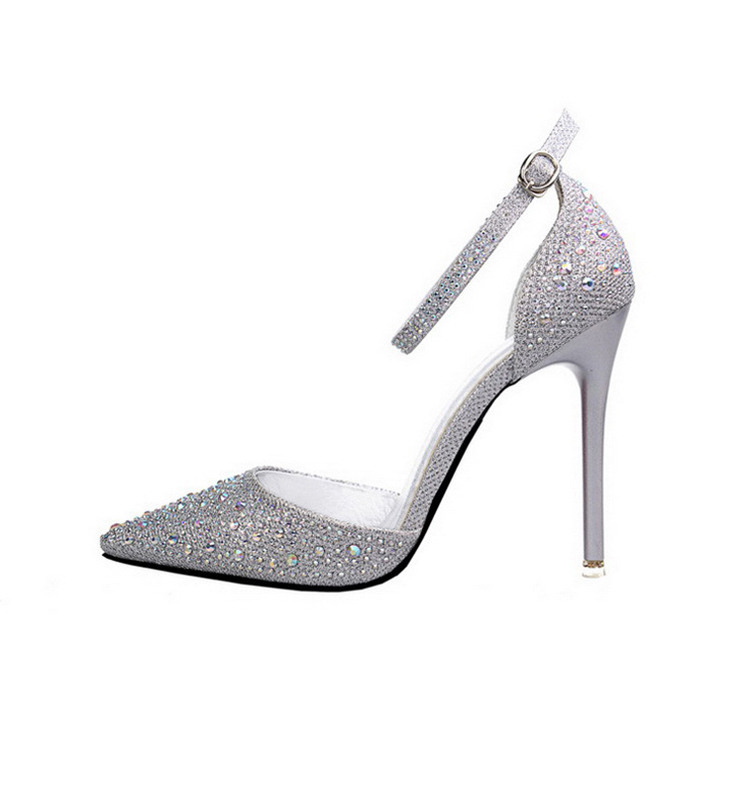 Women Pumps Sexy High Heels Shoes Woman Silver Rhinestone Wedding Shoes High Heels Party Shoes Summer Hight Heels Sandals 18