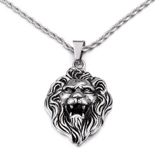 Large stainless steel 52*38mm Lion Head king pendant necklace chain 4mm wide for Men's gifts(China)