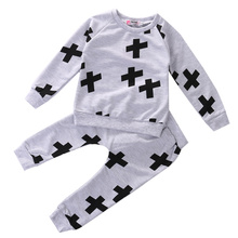 2016 wholesale top selling printing kids clothes long sleeve cross tops + casual pants boys sport wear children outfits sets
