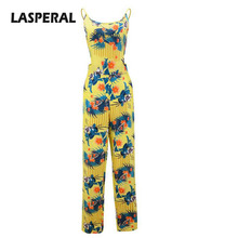 LASPERAL 2017 Printed Jumpsuits Women Flower Sexy Backless Full Length Jumpsuit Ladies Summer Coveralls Nightclub Wear Jumpsuit(China)
