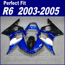 Hot sale motorcycle parts for YAMAHA R6 fairing kit 2003 2004 2005 blue white black Fit YZF R6 fairings 03 04 05(China)