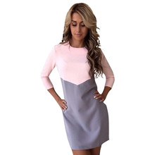 Buy Women Autumn Dress Sexy Casual Patchwork Mini Dress O-Neck Three Quarter Sleeve Bodycon Dress Vestidos Plus Size LJ5325E for $7.42 in AliExpress store