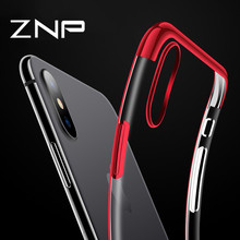 ZNP Luxury Transparent Case For iPhone X 6 7 8 Plus Plating Shining Silicone Soft TPU Phone Cover For iPhone X 10 8 7 6 6s Case(China)