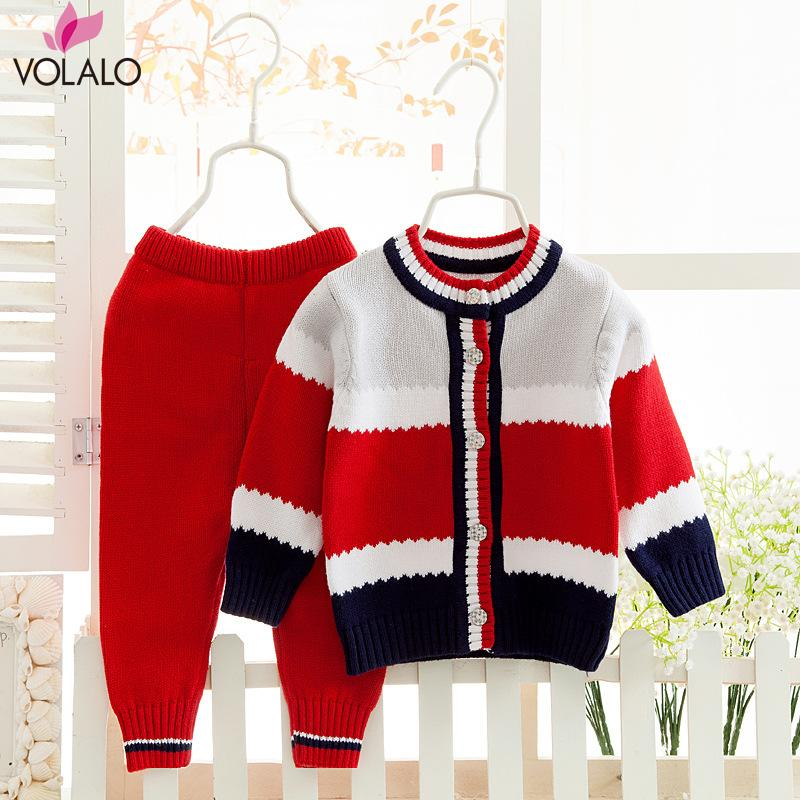 2PCS New Baby Set Striped Cardigan Suits Knitted Boys Sweater Autumn Winter Boys Suits Boys Cloth Set Baby Clothing<br><br>Aliexpress
