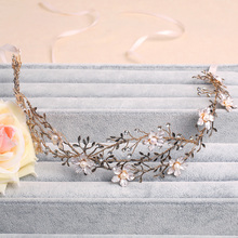 Handmade Gold Leaf Wedding Headband Bridal Jewelry Floral Hair Accessories Vintage Women Headbands Tiara(China)