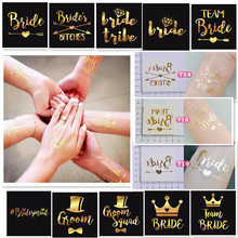 1 X Gold Bride Temporary Tattoo Bachelorette Party Accessories Bridesmaid Bridal Shower Wedding Decoration Photographs