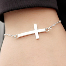 L183 Bijoux New Punk Fashion Love Vintage Silver Plated Cross Bracelet Bangle For Women Charm Chain Jewelry Girl Gift pulseras