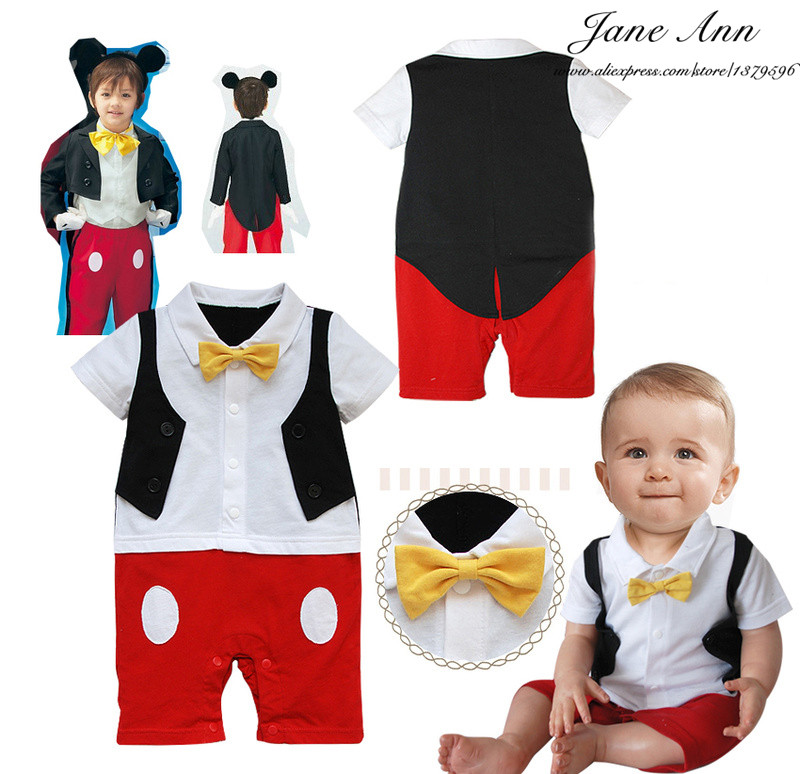 Baby infant bow ties romper  short sleeve rompers baby boy cartoon jumpsuit  character clothing toddler Wearing<br><br>Aliexpress
