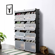 iKayaa Multi-Use 32 Pairs Cube Plastic Shoes Rack 16 Grids Shoes Storage Cabinet Organizer Waterproof Cloth Closet US Stock