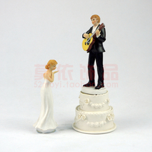Cake Decoration Wedding Products Wedding Gift Resin Handicrafts Jump Dance Guitar Wedding Favor Groom Bride(China)