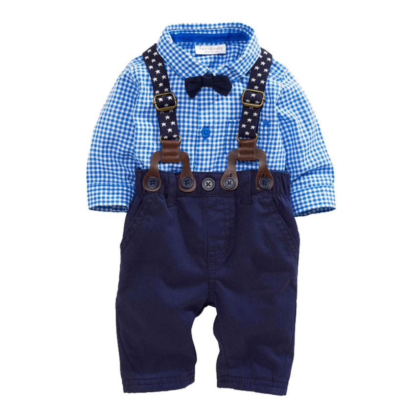 kids designer brand 2016 Baby Boys Pants Sets Plaid T-shirt Top Bib Pants Overall Outfits boys clothes sets free shipping #ML30<br><br>Aliexpress