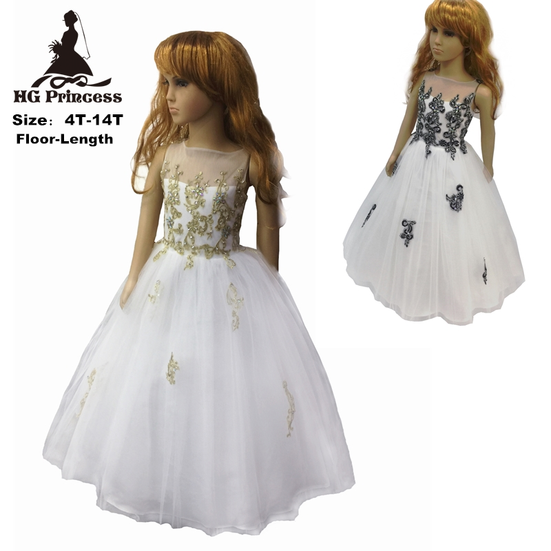HG Princess 4- 14 Years Patchwork Girl Party Dress 2017 New Ivory Gold Flower Girl Dresses Lace Applique Kids Evening Gown  2228<br><br>Aliexpress