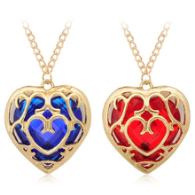 Fashion Movie The Legend of Zelda Sunhsine Blue Red Heart Hollow Out Pendant Necklace Women Men Jewelry Choker Party Collier