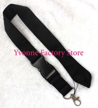 Free shipping, One pc Black Blank plain Mens Womens neck Lanyard Strap , Badge ID , Detachable Keychain ,Sports Cell Holder