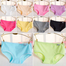 Buy Candy Color Sexy Female Underwear Women's Cotton Panties Lady Breathable Underpants Girls Knickers Panty Briefs