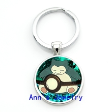 Vulpix Pokeball Pokemon Keychain Glass Wartortle Picture Key Chain Vaporeon Keyrings Anime Men's Gifts