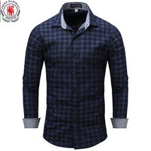 New Arrival Men's shirt  Long Sleeve Plaid Shirts Mens Dress Shirt Brand Casual Denim Style Checks Blue Shirts 086