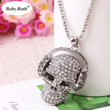 Headset Skull Necklace Statement Women Jewelry Skeleton Silver Color Long Necklaces