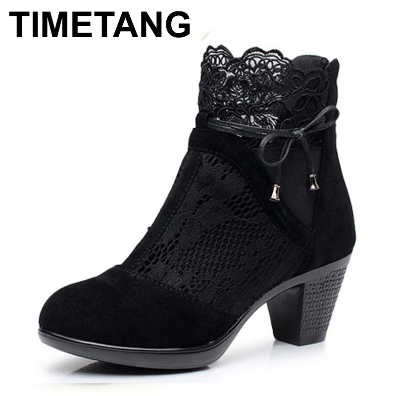TIMETANG Genuine leather spring and autumn martin boots medium hells shoes womens<br>