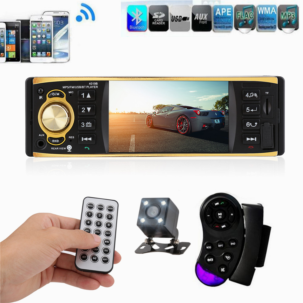 4019B 4.1 inch 1 Din Car Radio Audio Stereo USB AUX FM Radio Station Bluetooth with Rearview Camera Remote Control autoradio(China (Mainland))