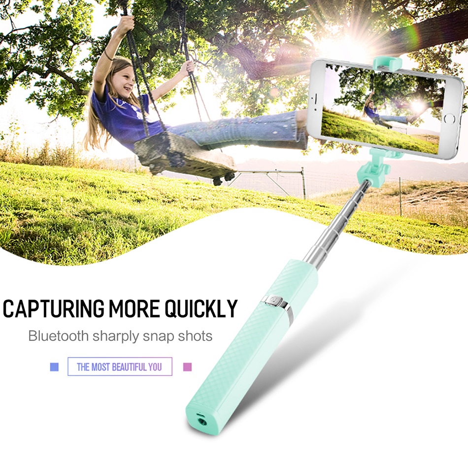 ROCK Portable Bluetooth Connect Selfie Stick , Phone  Lipstick Shape Wireless Wire Control Extend Light Phone SelfieStick