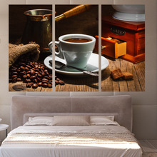 Top Fashion Hot Sale 3 Panels Canvas Art Coffe Beans Cup Position Home Decor Wall Painting Prints Pictures For Living Room(China)