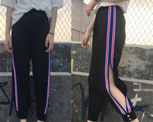 women Korean version Loose large code was thin Open the fork with a harem pants Personality street Leisure sports pants S-L