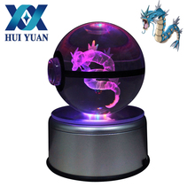 HUI YUAN Gyarados Pokeball 8CM Diameter Crystal Ball 3D LED Novelty Light USB AA Battery Decorative Light Glass Ball(China)