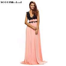 SOCCI Elegant and Fashionable Evening Dress 2017 Maxi Sexy Deep V neck Sleeveless Splicing Lace Dress Woman Formal Skirt